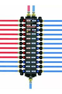 49143 1 2 inch Pureflow Poly Pex Press Manabloc With 14 Ports 8 Cold 6 Hot