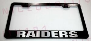 Raiders Nfl Stainless Steel Black Finished License Plate Frame Rust Free