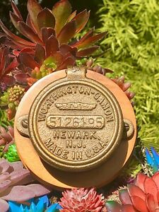Vintage Brass Water Meter Cover Wood Mounted Worthington Gamon Newark N j Usa