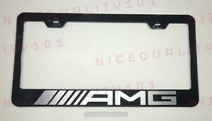 Amg Mercedes Benz 100 Carbon Fiber Stainless Steel Frame Plate Including Caps