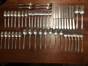 Wm Rogers Son Silver Plated Antique Is Silverware Midcentury Lot Of 49 Pc