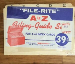 Vtg File Rite A To Z Index Card 4x6 Guide 535