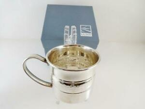 New Lunt Sterling Silver Baby Cup Mug Hammered Silver Accent Trim Original Box