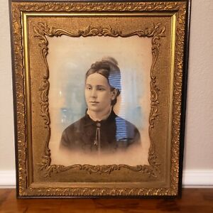 Antique Victorian Wood Gold Ornate Frame Portrait Woman Free Shipping
