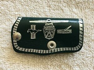 Vintage Ford Mustang Dash Accessory Leather Key Case Nos Key Chain Promo