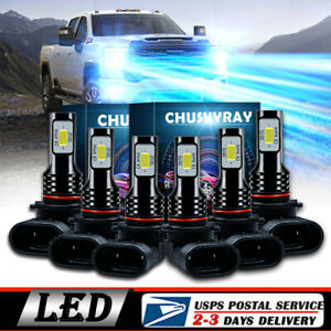 6 Led Headlight Fog Bulbs Ice Blue For Chevy 03 2007 Silverado 02 2005 Avalanche