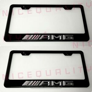 2x 3d Amg Mercedes Benz Stainless Steel Finished License Plate Frame Holder