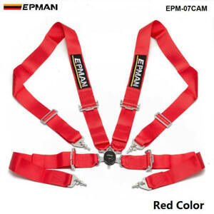 Red Universal 4 point 3 Nylon Strap Harness Safety Camlock Racing Seat Belt