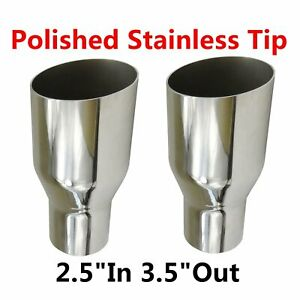 2x 2 5 In 3 5 Out Sliver Exhaust Single Layer Slant Cut Tip Polished Stainless