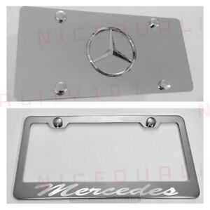 3d Mercedes Benz Combo Stainless Steel Front Plate W License Plate Frame