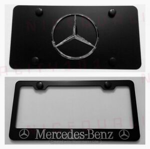 3d Mercedes Benz Amg Combo Stainless Steel Front Plate W License Plate Frame