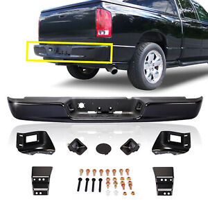 Steel Black Rear Step Bumper Assembly For 02 09 Dodge Ram 1500 2500 3500 Pickup