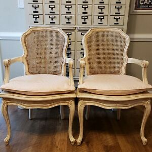 Vintage French Bergere Cane French Provenial Country Accent Arm Chair Free Ship