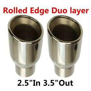 2x Polished Stainless Rolled Edge Duo Layer Slant Exhaust Tips 2 5 In 3 5 Out