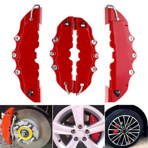4 Pcs 3d Car Universal Disc Brake Caliper Cover Front Rear Accessories Kit Red