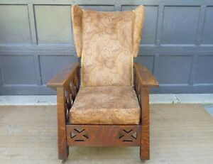 Antique Arts Crafts Mission Oak Wingback Craftsman Recliner Morris Chair