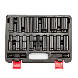 16pcs Long Deep Impact Socket Set 1 2 Dr 6pt Crv 10 32mm Metric For Power Tool