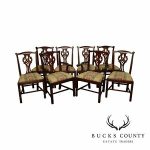 Henkel Harris Chippendale Style Solid Mahogany Set 8 Dining Chair