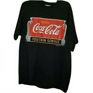 Black 1994 VIntage Coca Cola T Shirt 1994 Fountain Service 100% cotton  Sz Large
