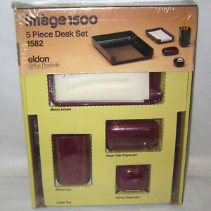 Vintage 1986 Eldon Image 1500 5 piece Office Desk Set Paper Clip Disp Pencil Cup