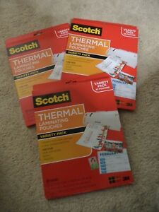 3 Packs Scotch Thermal Laminating Pouches Variety Pack 65 Pouches Total 195
