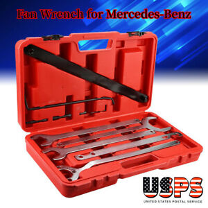 8pcs Car Fan Clutch Carbon Steel Wrench Holder Tool Set For Mercedes benz Silver