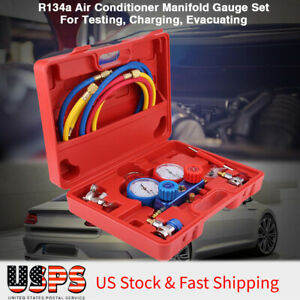 R134a Ac A C Air Conditioner Manifold Gauge Set With 5ft Charging Hose Tool