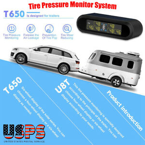 Wireless Solar Lcd Tpms Tire Pressure Monitoring System With 6 External Sensors