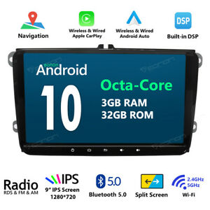 8 Android 10 Car Stereo Gps Navigation Radio Dvd Player For Volkswagen Vw Seat