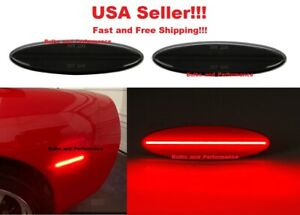 Smoked Lens Rear Red Led Side Marker Lights For Chevy C5 Corvette 1997 2004