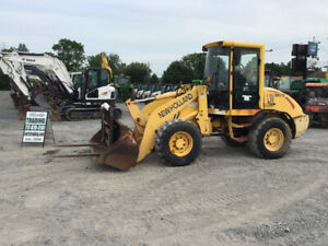 2003 New Holland Lw80b Compact Wheel Loader W Cab Bucket And Forks