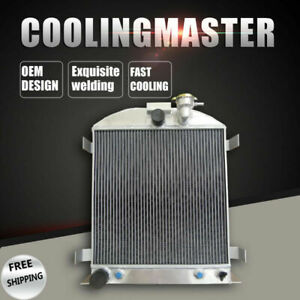 Aluminum Radiator For 1932 Ford Chopped Ford Engine At mt 3 Row core 62mm