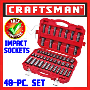 Craftsman 48 Pc Impact Socket Set 1 2 Inch Drive 6 Pt Inch Metric Sae 916548