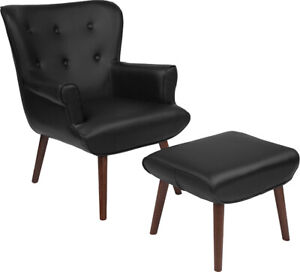 Bayton Upholstered Wingback Chair With Ottoman In Black Leathersoft