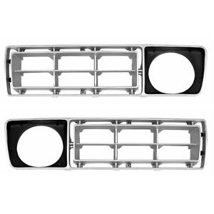 1976 1977 Ford Pickup Truck Grille Insert Silver Black Pair Right Left Side