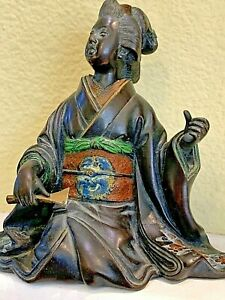 Antique Japanese Bronze Statue Of A Geisha Great Detail 4 5 H