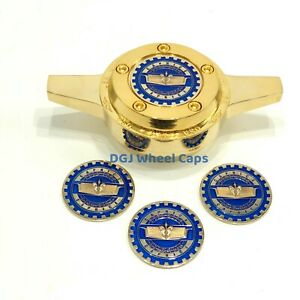 Caprice Blue On Gold Lowrider Wire Wheel Knock off Metal Chips Emblems Size 2 25