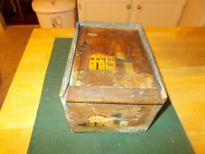 Early 1800s Slide Top Lid Storage Box With Hand Painted Buildings Possible Scan
