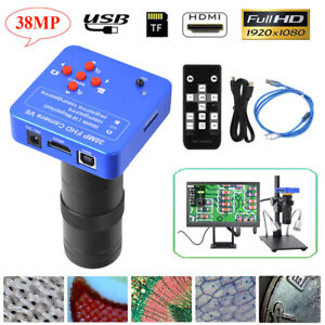 38mp 1080p Hdmi Usb Lab Industrial Video Microscope Camera With 100x Lens Set