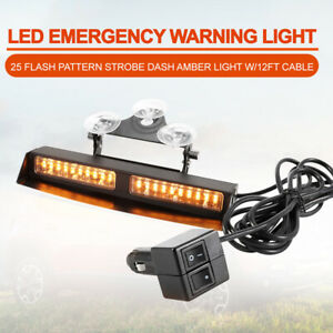 Led Amber Emergency Strobe Dash Light W 12ft Cable 25 Flash Patterns Available