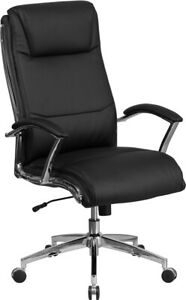 High Back Black Smooth Upholstered Executive Swivel Office Chair And Arms