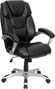High Back Black Layered Upholstered Executive Swivel Ergonomic Office Chair