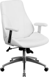Mid back White Leathersoft Smooth Upholstered Executive Swivel Office Chair