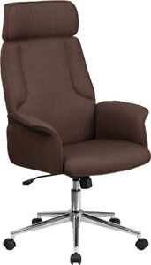 High Back Brown Fabric Executive Swivel Office Chair And Fully Upholstered Arms