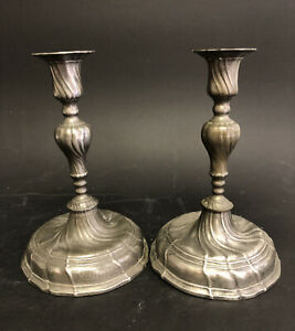 Pair Of Antique Pewter Colonial Candlestick Candle Holders
