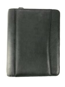 Franklin Covey Zipper Binder 5 5 X 8 5 Classic Starter Set Black Leather