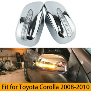 1 Pair Led Light Side Mirror Cover Fit For Toyota Corolla 2008 2010