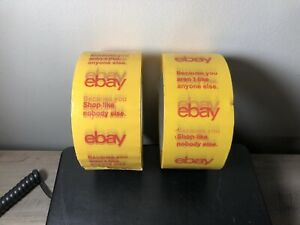 2 Rolls Yellow Ebay Logo Packing Tape 2in X 75yds New From Bulk Pack Free Ship