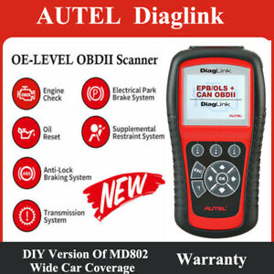 Autel Diaglink Maxidiag Elite Md802 Obd2 Code Scanner Tool Abs Srs Epb Oil Reset