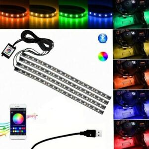Car Interior Rgb Color 48 Led Strip Light Usb Wireless App Sound Music Control
